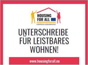 """Unterstütze DIE EUROPÄISCHE BÜRGERINITIATIVE """"HOUSING FOR ALL"""""""